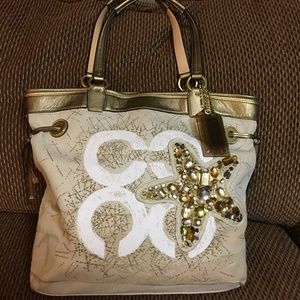 COACH AUDREY JEWELED STARFISH N/S Logo Tote